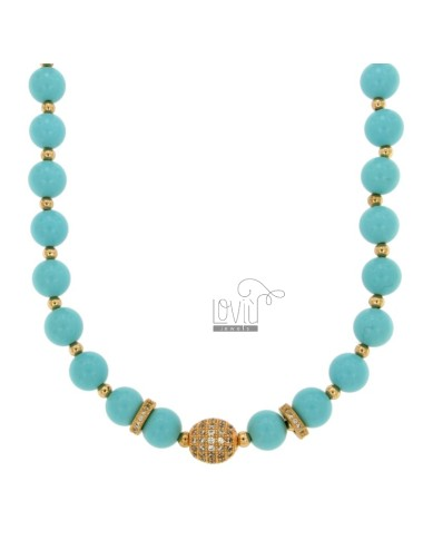 NECKLACE WITH TURQUOISE PASTE BALLS MM 9 AND TRAMEZZI WITH BRASS ZIRCONIA CM 45-50