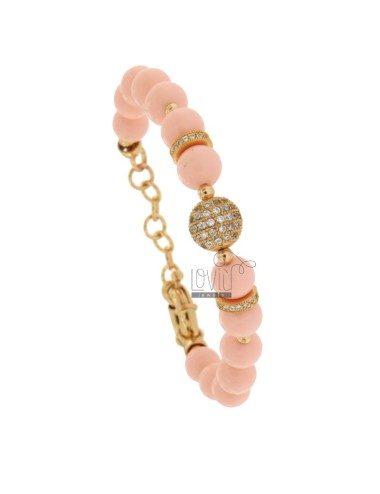 BRACELET WITH CORAL PINK PASTA BALLS MM 9 AND SLEEVES WITH BRASS ZIRCONIA CM 18-21