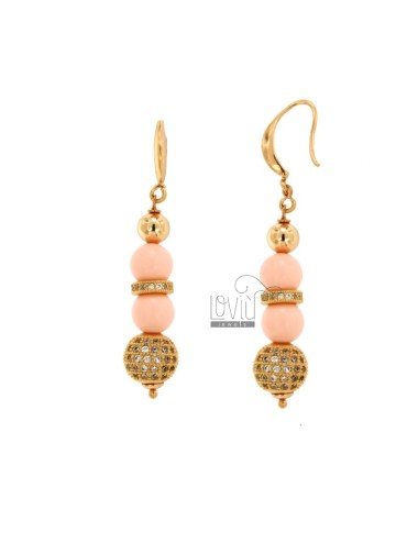 PENDANT EARRINGS WITH PINK CORAL PASTA BALLS MM 9 AND SQUARES WITH BRASS ZIRCONIA