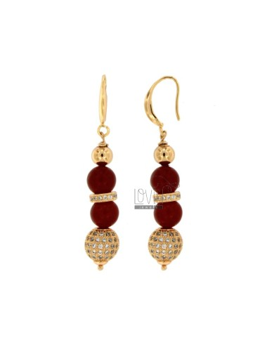 PENDANTS EARRINGS WITH BALLS OF RED AGATA MM 9 AND TRAMEZZI WITH BRASS ZIRCONIA
