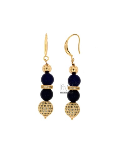 PENDANTS EARRINGS WITH BALLS OF AGATA BLUE 9 MM AND TRAMEZZI WITH BRASS ZIRCONIA