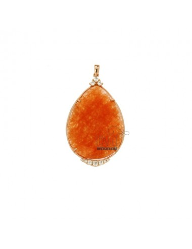 PENDANT DROP 52x30 MM WITH NATURAL STONES AND ZIRCONIA SILVER COPPER TIT 925 ‰