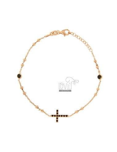 ROSARY BRACELET WITH CROSS AND TRAMELETS WITH BLACK ZIRCONIA SILVER COPPER TIT 925 CM 18-23