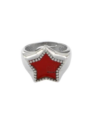 Star ring in silver rhodium...