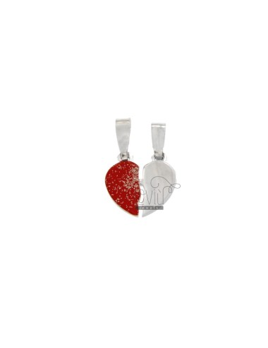 PENDANT LITTLE HEART DIVIDED IN SILVER RHODIUM TIT 925 ‰ GLITTER AND ENAMEL