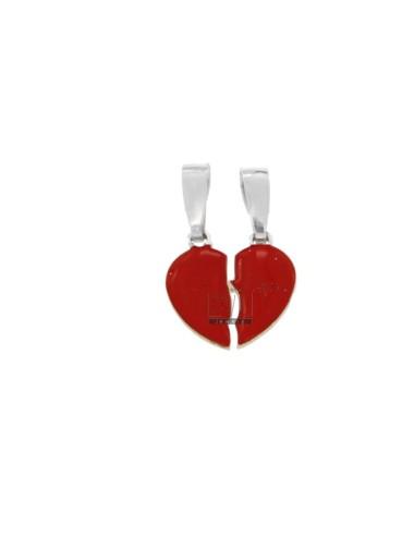PENDANT LITTLE HEART DIVIDED IN SILVER RHODIUM TIT 925 ‰ AND SMALTO