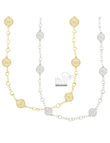NECKLACE CABLE WITH DRAWING DISCS PZ 2 BRONZE BICOLOR CM 90