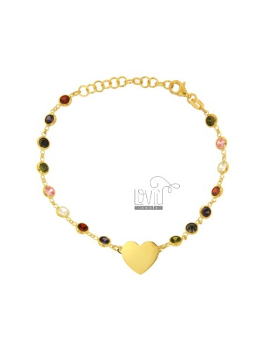 BRACELET WITH ZIRCONIA MULTICOLOR AND CENTRAL HEART IN SILVER GOLDEN TIT 925 ‰ CM 16-18