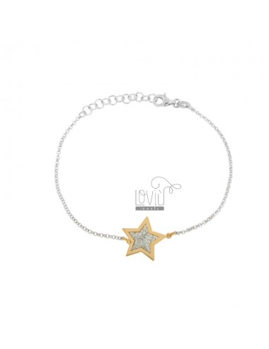 ROLO BRACELET WITH CENTRAL STAR IN SILVER RHODIUM AND COPPER TIT 925 AND GLITTER CM 16-18