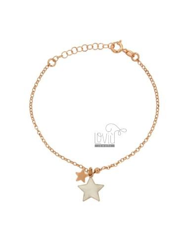 ROLO BRACELET WITH GLAZED STAR IN SILVER COPPER TIT 925 ‰ CM 17-19