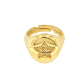 14 MM ROUND RING WITH CHOPPED STAR IN SILVER GOLDEN 925 ‰ SIZE ADJUSTABLE FROM MIGNOLO
