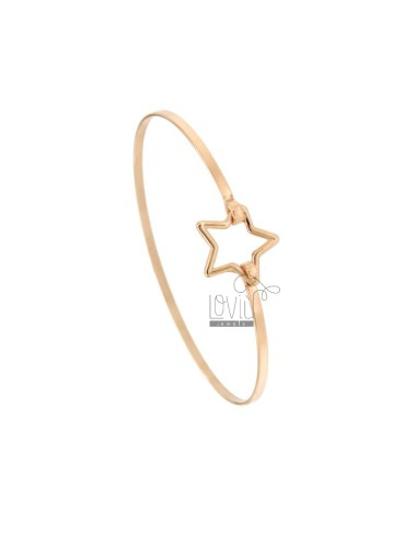 RIGID 2.5 MM BRACELET IN COPPER SILVER TIT 925 ‰ WITH CENTRAL CLOSING STAR