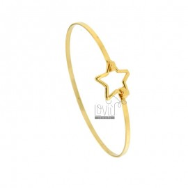 RIGID 2.5 MM BRACELET IN SILVER GOLDEN TIT 925 ‰ WITH CENTRAL CLOSING STAR