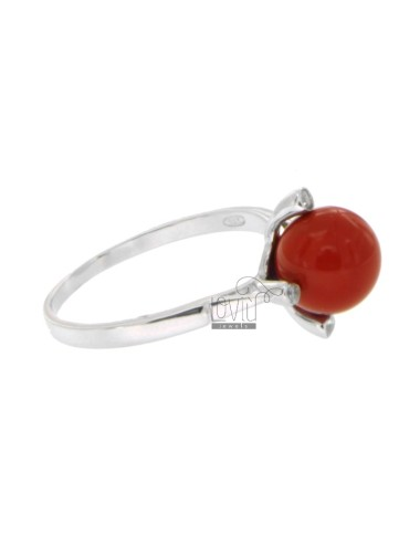 RING WITH BALL IN RED CORAL...