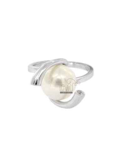 Anello con perla mm 12 in...
