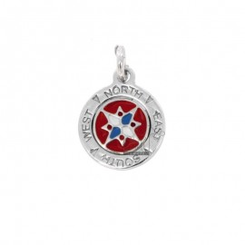 PENDANT ROUND ROSE OF THE WINDS 16 MM SILVER RHODIUM TIT 925 ‰ AND ENAMEL