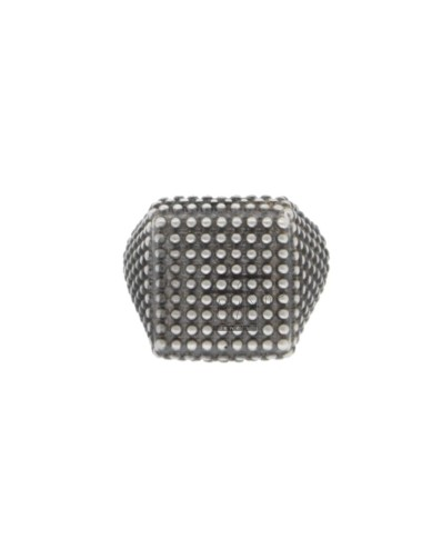 SQUARE SMALL RING WITH MICROBALLS IN SILVER BRUNITO 925 ‰ ADJUSTABLE SIZE FROM 8