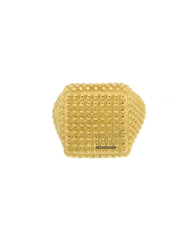 SQUARE SMALL RING WITH MICROSPHERES IN GOLDEN SILVER 925 ‰ ADJUSTABLE SIZE FROM 8