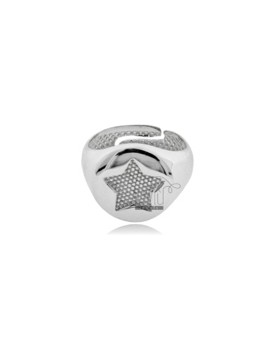 RING FROM MIGNOLO ROUND WITH STAR CHAIR IN SILVER RHODIUM 925 ‰ ADJUSTABLE SIZE FROM 8