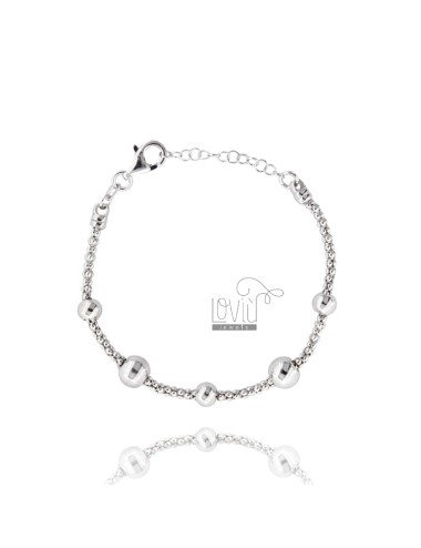 BRACELET POP CORN WITH BALLS IN SILVER RHODIUM TIT 925 ‰ CM FROM 18 EXTENSIBLE TO 20