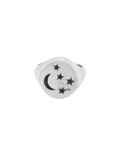 RING FROM MIGNOLO ROUND WITH MOON AND STARS CHESELLED SILVER BRUNITO 925 ‰ ADJUSTABLE SIZE FROM 8