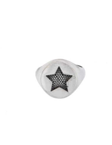 RING FROM MIGNOLO ROUND WITH STAR CHAIR IN SILVER BRUNITO 925 ‰ ADJUSTABLE SIZE FROM 8