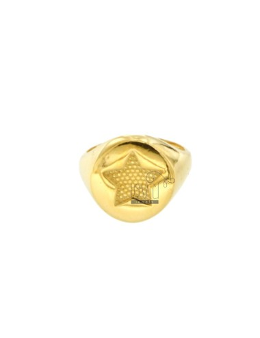 RING FROM MIGNOLO ROUND WITH CHOPPED STAR IN SILVER GOLDEN 925 ‰ ADJUSTABLE SIZE FROM 8