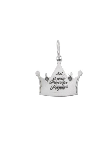 PENDANT CROWN 17x17 MM WITH ENGRAVING YOU ARE MY PRINCE PAPA 'SILVER RHODIUM TIT 925