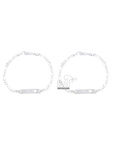 BABY BRACELET PZ 2 SWEATER 3 1 WITH PLATE WITH HEART PERFORATED IN SILVER TITLE 925 ‰ CM 16