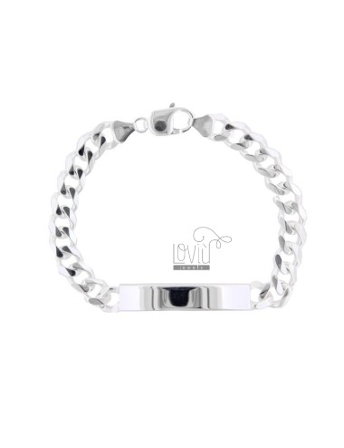 BRACELET KNITTED GRUMPET WITH 8x27 MM PLATE IN SILVER 925 ‰ 21 CM