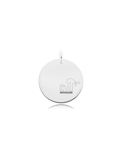 PENDANT ROUND DIAMETER 20 MM THICKNESS 1 MM SILVER TIT 925