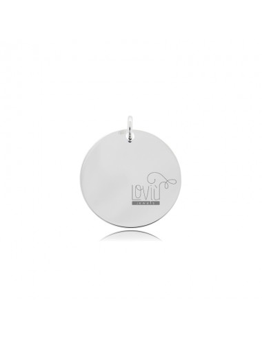 PENDANT ROUND DIAMETER 20 MM THICKNESS 05 MM SILVER TIT 925