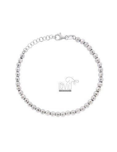 BRACELET WITH 4 MM BALLS IN HAMMERED SILVER AND RHODIUM 925 ‰ WITH CLOSURE 17-20 CM