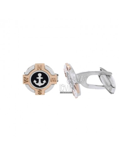 GEMINI ROUND 15 MM WITH ANCHOR IN SILVER RHODIUM AND COPPER TIT 925 ‰ AND BLACK POLISH