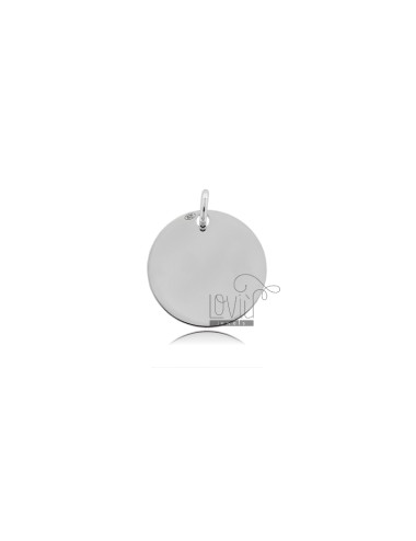 PENDANT ROUND DIAMETER MM 15 MM THICKNESS IN SILVER RHODIUM TIT 925