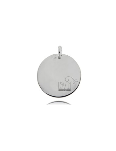 PENDANT ROUND DIAMETER MM 20 THICKNESS MM 1 SILVER RHODIATOTIT 925