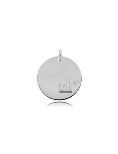 PENDANT ROUND DIAMETER MM 20 THICKNESS 05 MM IN SILVER RHODIUM TIT 925