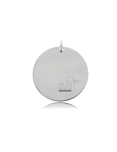 PENDANT ROUND DIAMETER MM 25 THICKNESS 05 MM IN SILVER RHODIUM TIT 925