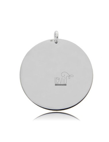 PENDANT ROUND DIAMETER MM 35 THICKNESS 05 MM IN SILVER RHODIUM TIT 925