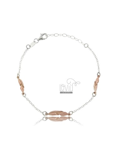 ROLO BRACELET WITH RIVER SILVER RHODIUM AND COPPER TIT 925 ‰ CM 18-20