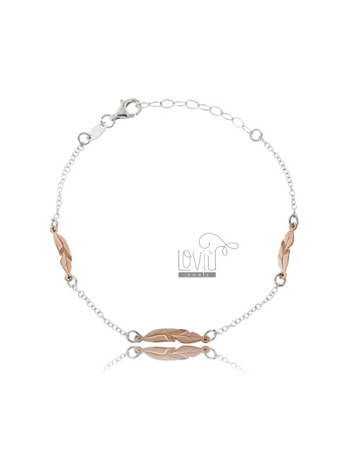 ROLO BRACELET 'WITH FEATHER IN RHODIUM SILVER AND COPPER TIT 925 ‰ CM 18-20