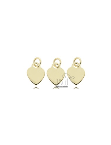 PENDANT PZ 3 HEART MM 8 THICKNESS 0.8 MM IN SILVER GOLDEN TIT 925