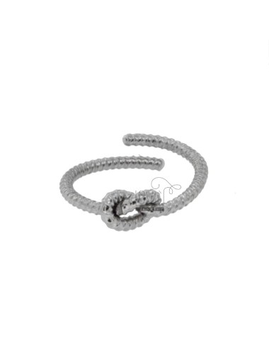 ROD KNOT RING TWISTED IN SILVER RHODIUM TIT 925 ‰ ADJUSTABLE SIZE