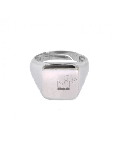 SQUARE RING IN SILVER RHODIUM 925 ‰ SIZE ADJUSTABLE FROM 8