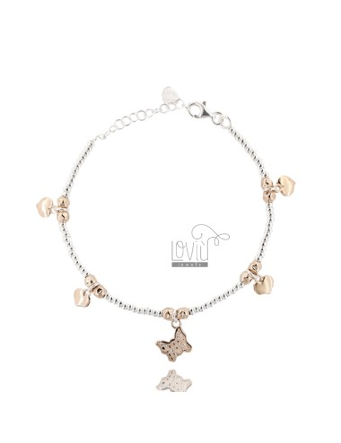 BRACELET WITH SILVER WASHERS WITH PEPITE BUTTERFLY AND HEARTS ROSE GOLD PLATED TIT 925 CM 17-20