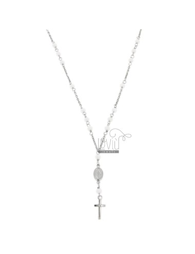 ROSARY NECKLACE BABY CABLE WITH STONES FACETS FROM MM 25X35 WHITE IN SILVER RHODIUM 925 ‰ CM 35-39