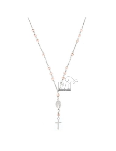 ROSARY NECKLACE BABY CABLE WITH STONES FACETS FROM MM 25X35 ROSE IN SILVER RHODIUM 925 ‰ CM 35-39