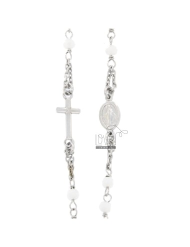 ROSARY NECKLACE A GIRO BABY CABLE WITH STONES FACETS FROM MM 25X35 WHITE SILVER RHODIUM 925 ‰ CM 35-39
