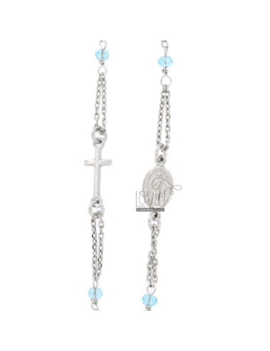 ROSARY NECKLACE A GIRO BABY CABLE WITH STONES FACETS FROM MM 25X35 SILVER RHODIUM SILVER 925 ‰ CM 35-39