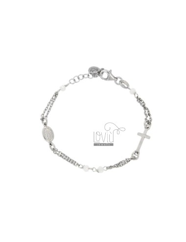 ROSE BRACELET BABY CABLE WITH STONES FACETS FROM MM 25X35 WHITE SILVER RHODIUM 925 ‰ CM 12-15